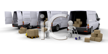 Royalty Free Clipart Image of People Unloading Vans