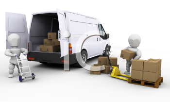 Royalty Free Clipart Image of  People Loading a Van