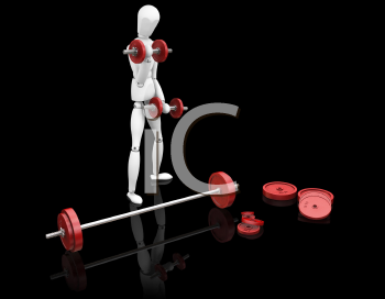 Royalty Free Clipart Image of a Person Using Free Weights