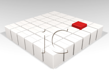 Royalty Free Clipart Image of a Red Box Among White Boxes