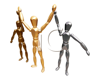 Royalty Free Clipart Image of a Gold, Silver and Bronze Competitors
