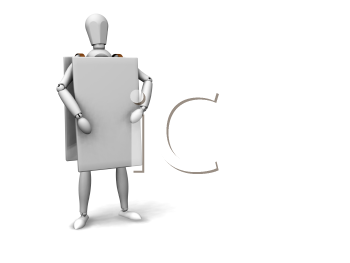 Royalty Free Clipart Image of a Figure Wearing a Sign Board