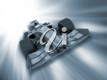 3D render of a formula one car on a motion background