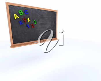 3D Render of a Chalkboard with magnetic letters