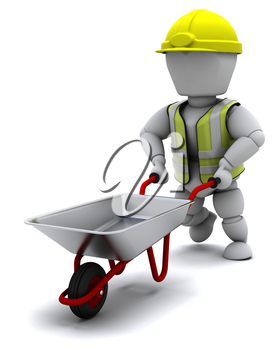 3D render of a Builder with a wheel barrow