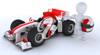 3D render of a man with race car