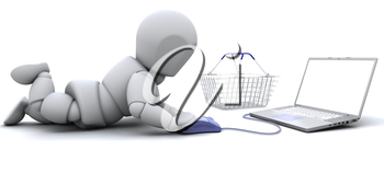 3D render of a man shopping for gifts on a laptop