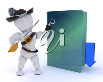 3D render of a pirate depicting illegal downloads