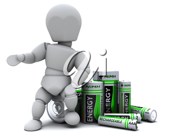 3D Render of a Man with NiMH Batteries