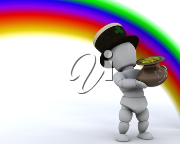 3d render of rainbow and pot of gold for st patricks day