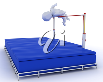 3D render of a man competing in the high jump