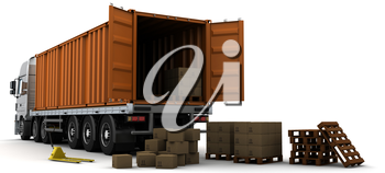 3D Render of a freight container Delivery Vehicle
