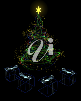 3d render of a neon christmas tree concept