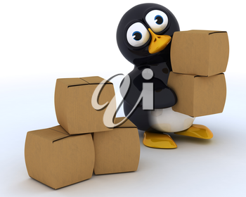 3D Render of a Glossy Penguin Character