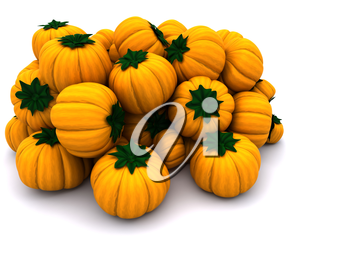 3d render of uncarved holiday pumkins