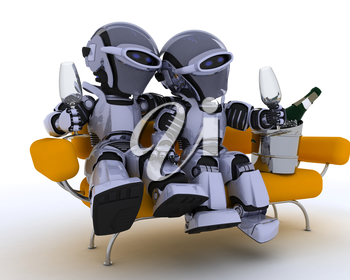 3D render of a robots sitting on a sofa drinking champagne
