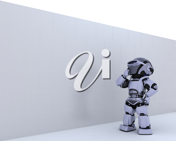 3D render of a Robot with jigsaw puzzle business metaphor