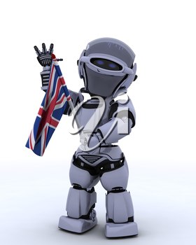 3D render of Robot with Union Jack Flag