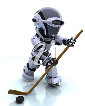3D render of a Robot playing icehockey