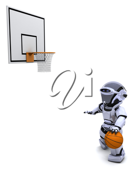 3D render of a Robot playing basketball