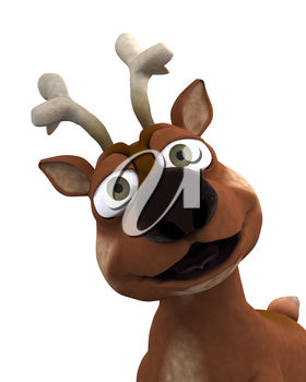 3D Render of a cute reindeer charicature