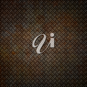 Metal plate background with a grunge rust effect