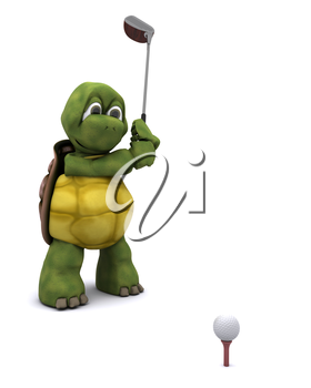 3D Render of a Tortoise Playing golf