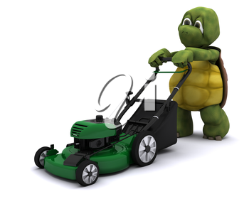 3D Render of a Tortoise with a lawn mower