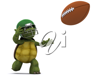 3D Render of a Tortoise throwing an american football