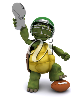 3D Render of a Tortoise with an american football