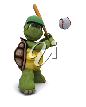 3D Render of a Tortoise playing baseball