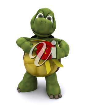 3D Render of a Tortoise with a rosette