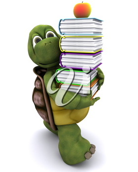 3D render of Tortoise with school book and apple