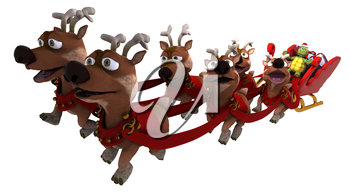 3d render of a tortoise santa with sleigh and reindeer