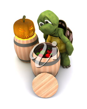 3d render of a tortoise bobbing for apples