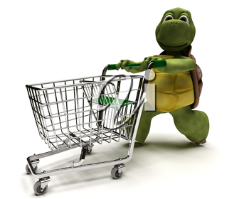 3D Render of a Tortoise with a shopping cart