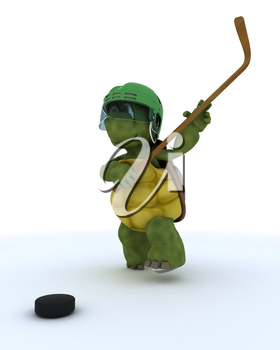 3D render of a tortoise playing ice hockey