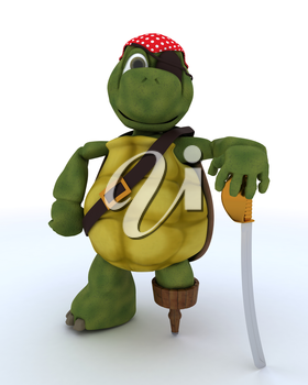 3D render of a Tortoise dressed as a pirate