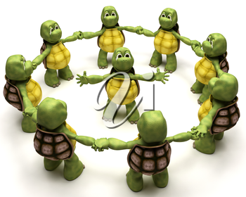 3D Render of a Tortoise leading a team
