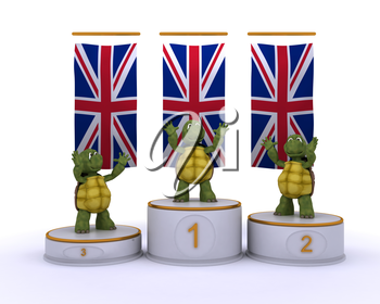3D render of a tortoises on championship podium