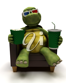3D Render of a Tortoise relexing in armchair drinking a soda watching a 3D movie