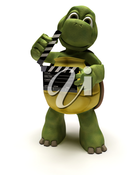 3D render of a tortoise with a clapper board