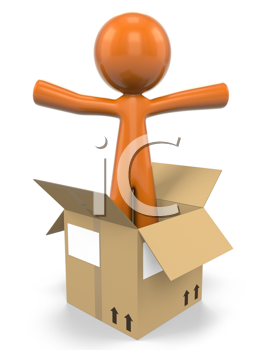 3D Orange Man Popping Out Of A Cardboard Box;