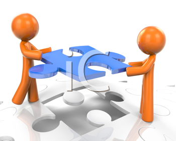 Royalty Free Clipart Image of Two Orange Man Working to Put a Puzzle Together