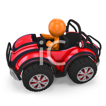 Royalty Free Clipart Image of a 3D Orange Man In Dune Buggy