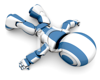 A cute 3d robot lying down wasted, as if his energy supply ran out.
