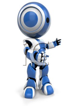 A blue robot gesturing to the right, presenting or talking. A useful pose.