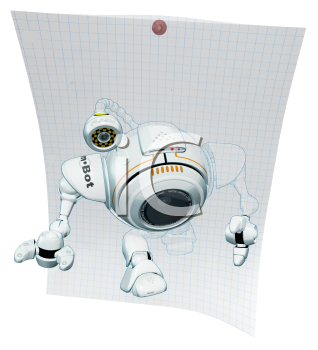 Royalty Free Clipart Image of a A 3d robot web cam emerging from graph paper with technical drawings behind him.