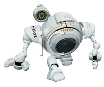 Royalty Free Clipart Image of a 3d Robot Web Cam Walking Toward the Viewer.