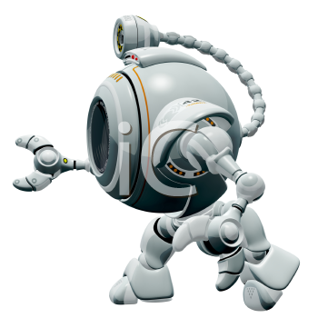 Royalty Free Clipart Image of a 3d robot web cam walking.